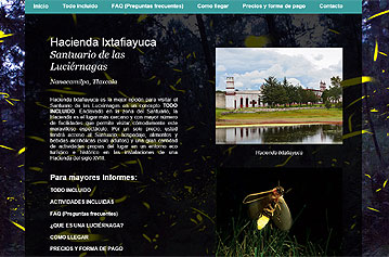 Web site for the Firefly sanctuary, Nanacamilpa, Tlaxcala